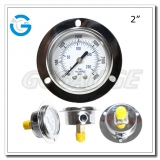 2 inch back connection glycerin filled front flange SS case brass internal gauges
